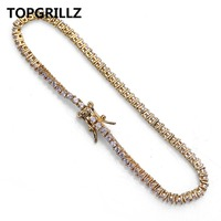 TOPGRILLZ Hip Hop 2mm Men 1Row Tennis Chain Bracelet Gold Color Iced Out Micro Pave Lab