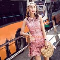Новое поступление платье Self portrait 2018 летние женские Вечернее платье взлетно посадочной полосы вырез нерегулярные розовый кружева рукавов л