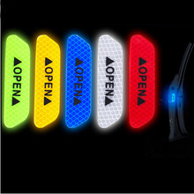 4 Pcs Car Door Safety Warning Reflective Stickers OPEN Sticker For Chevrolet Cruze Niva Aveo Epica Lacetti Captiva Onix Prisma S(China)