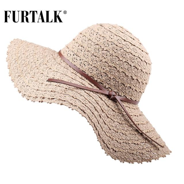FURTALK Summer Hats for Women Fashion Design Women Beach Sun Hat Foldable Brimmed Straw Hat