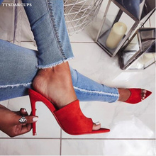 Summer shoes woman Roman style sandals with high heels 11.5CM sexy  Night club pumps Large size 35-40 High heel slippers