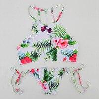 2017 High Neck Cute Flower Bikini Set Padded Womens Swim Suits Female Swimwear Girls Top Quality