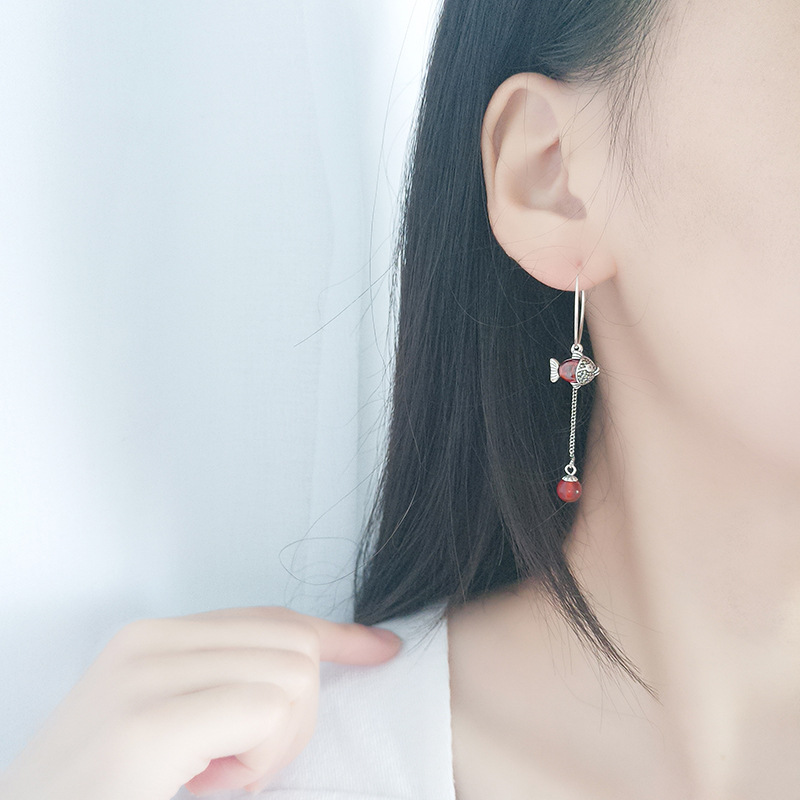 925 sterling silver Thai asymmetrical new year red stone koi fish animal vintage hoop earrings for women new fashion 2019 in Hoop Earrings from Jewelry Accessories