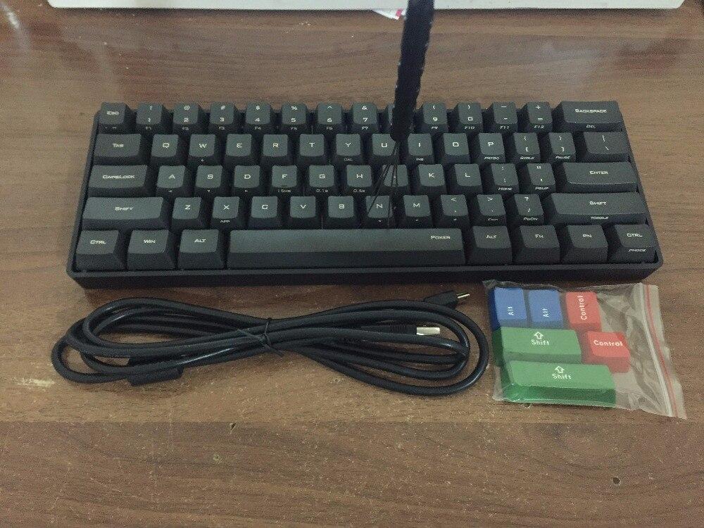 POKER MINI 60% noir clavier mécanique compact cerise mx brun commutateur clavier de jeu PBT keycap câble amovible vortex