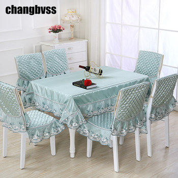 9pcs /set Rectangular Table Cloth Jacquard Flower Edge Wedding Tablecloth with Chair Covers & Mats Home Decoration Table Cover