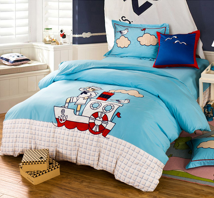 Boy girl Twin Full Queen Children/kids Cotton 4Pcs Bedding ...