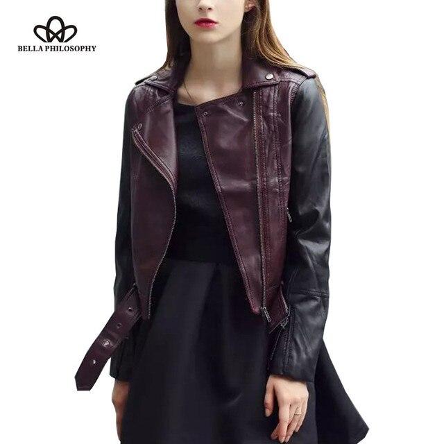 2016 осень зима новый красное вино черный PU искусственной кожи молнии короткие женщины двигателя пальто куртки