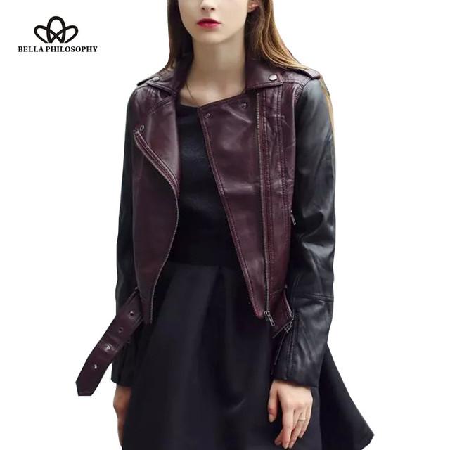 2016 outono inverno novo vinho vermelho preto PU do falso couro com zíper casaco curto mulheres jaqueta de motor