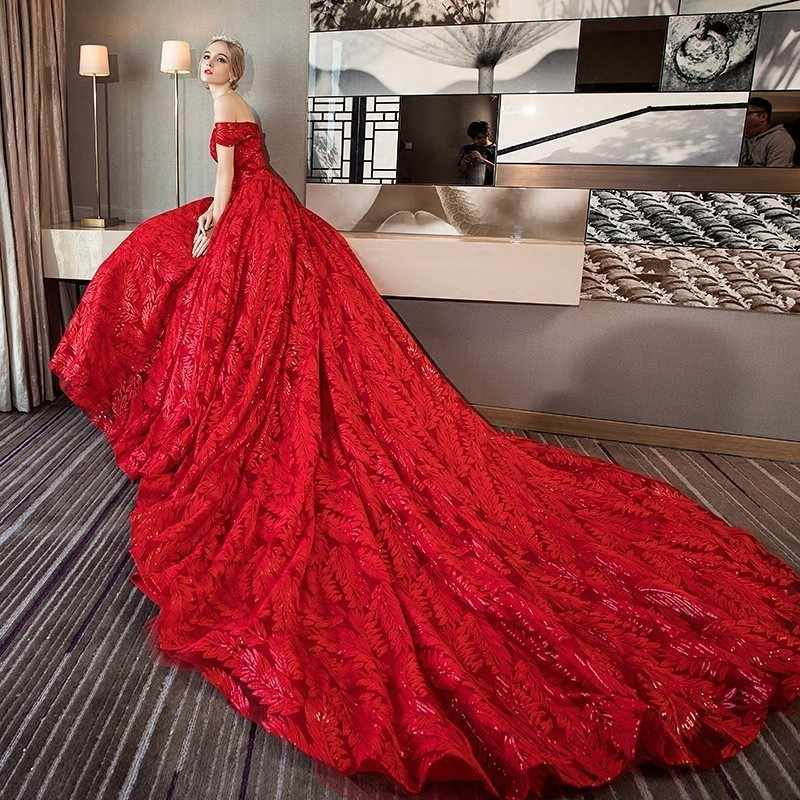 ee374f1f5a25 ... Darlingoddess Luxury Bling Wedding Dresses 2018 Ball Gown Long Tail Red  Ivory Wedding Dress Lace Up ...