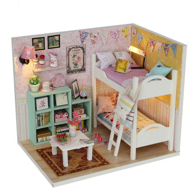 DIY Doll Houses Furniture LED Lights Wooden Dollhouse Handmade Miniature  Cherylu0027s Room Model For Children Xmas