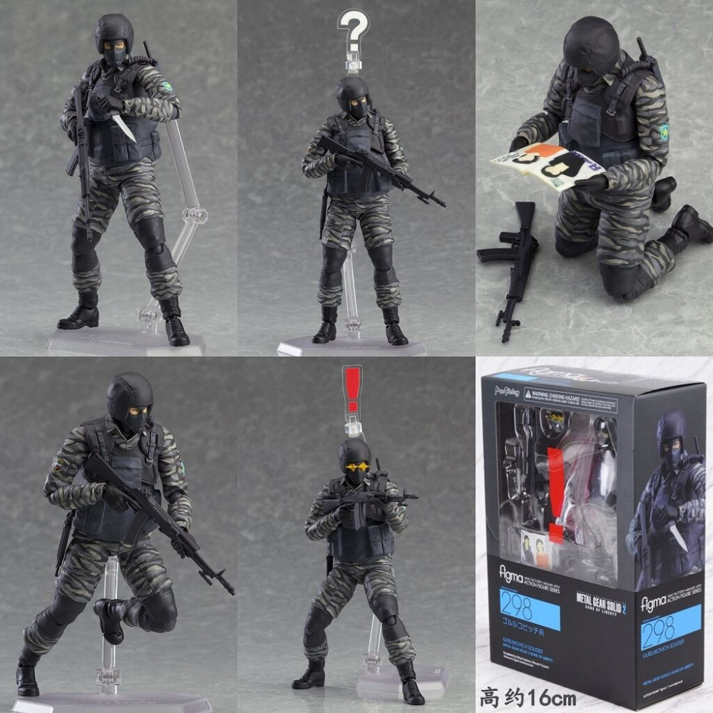 Boxed <font><b>Figma</b></font> 298 Gurlukovich Soldier <font><b>Metal</b></font> <font><b>Gear</b></font> <font><b>Solid</b></font> <font><b>2</b></font>: Sons of Liberty Game PVC <font><b>Action</b></font> <font><b>Figure</b></font> Resin Collection Model Toy Gifts