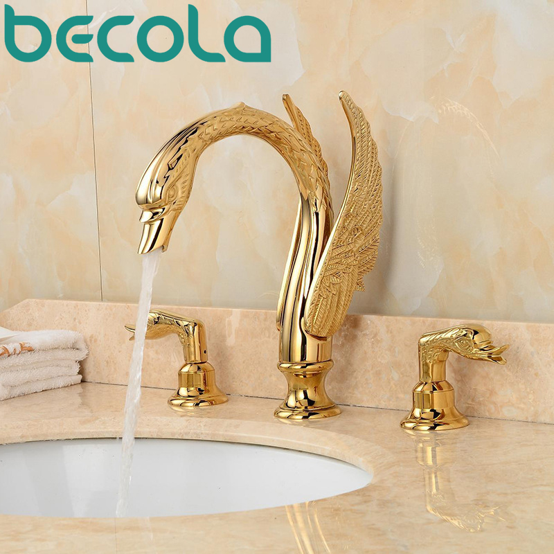 Gold Art Swan Bathtub Faucet Bathroom