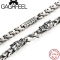 GAGAFEEL 925 Sterling Silver Necklace Dragon Head Thick Chain Thai Silver Men Long Necklace Vintage Style Men Jewelry N026
