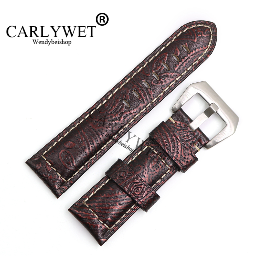 CARLYWET 22 24 26mm Wholesale Brown Pattern Real Leather Wrist Watch Band Strap Bracelet With Silver Brushed Pre V Screw Buckle suunto core brushed steel brown leather