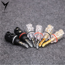 8pcs Hi-end Brass copper plating rhodium Black Shell Audio Video Speaker Connector 8mm Banana Plug Jack(China)