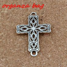 10pcs/ lots Antique Silver Hollow Flower Cross 3mm Hole Connectors Fit Hand-woven bracelets Jewelry DIY 27.2x42x1.5mm F-3