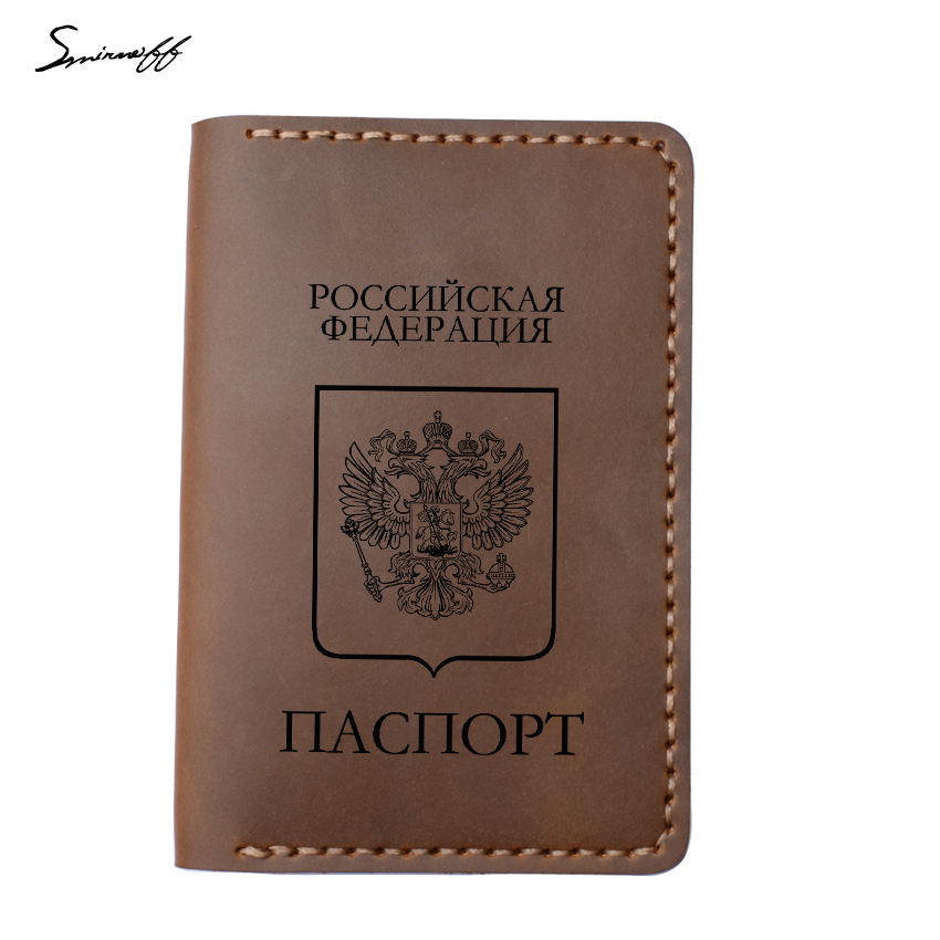 Handmade Genuine Leather Russian Passport Cover Women And Men Passport Wallet Case Travel Accessories Organizer Passport Holder