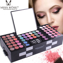 MISS ROSE 142 color professional eye shadow 3 blush eyebrow powder palette makeup box cosmetic case