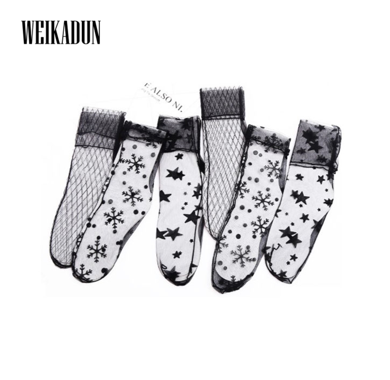 Hot Sale Sexy Transparent Mesh Lace Women Fishnet Ankle High Thin Socks Lady Fish Net Short Socks Chaussettes Femme Fantaisie