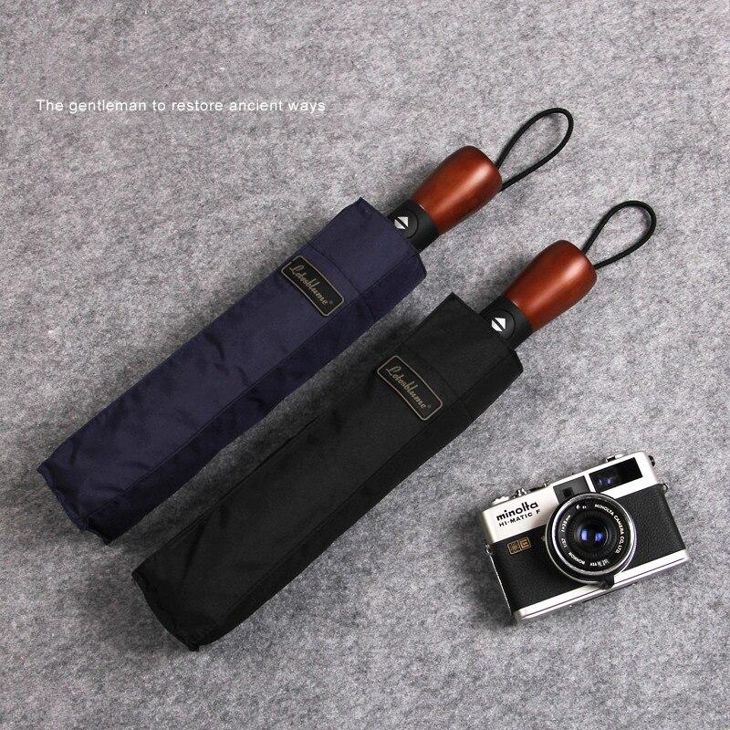 Parapluie d'affaires avec homme classique & élégant 3 pliant automatique manche en bois noir & bleu marine couleurs forte coupe-vent 10 K Z654
