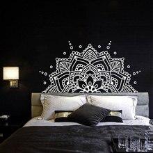 ראש המיטה חדר השינה Boho בוהמי דקור חצי המנדלה קיר מדבקות יוגה סטודיו נמסטה קישוט המנדלה ויניל קיר מדבקת MTL10