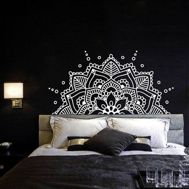 Schlafzimmer Kopfteil Boho Böhmischen Decor Halbe Mandala Wand Aufkleber Yoga Studio Namaste Ornament Mandala Vinyl Wand Aufkleber MTL10