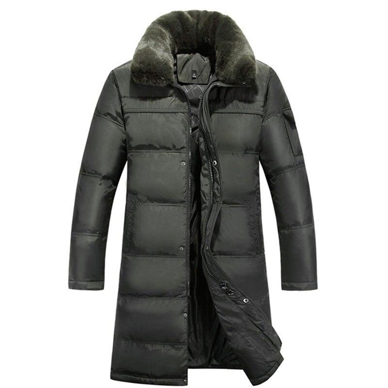 2018 мужская длинный пуховик плюс размер 4XL плотные теплые повседневные утка вниз одежда меховой воротник зимние пальто зимняя пуховая парка