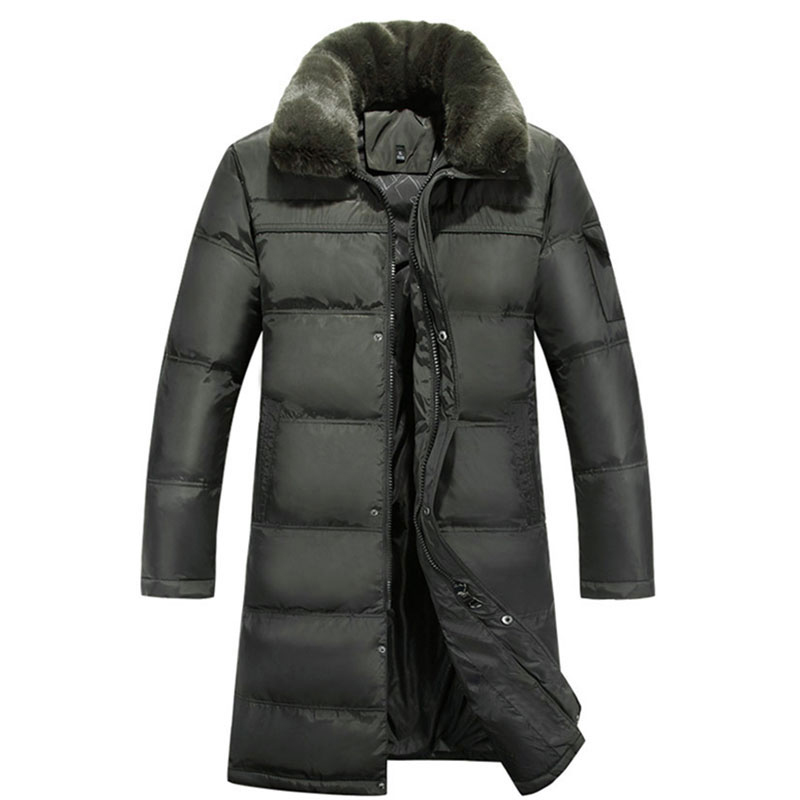 2018 Men's Long Down Jacket Plus Size 4XL Thick Warm Casual Duck Down Clothing Fur Collar Winter Snow Coats Down Winter Parka