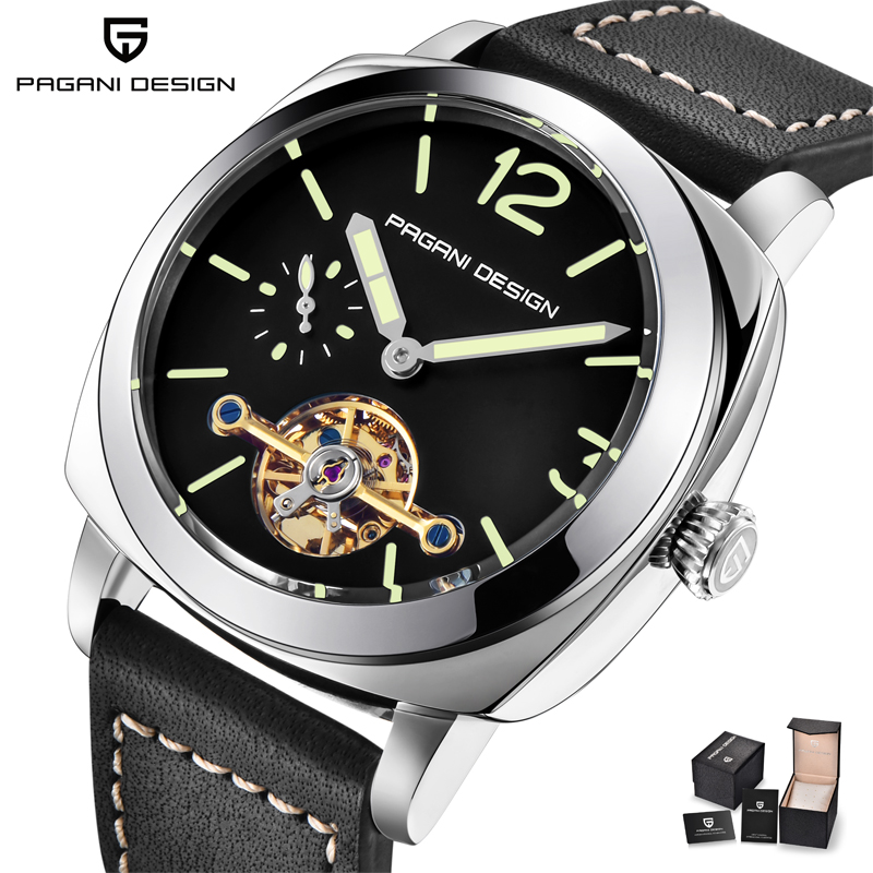 New Arrival 2018 Fashion Automatic Watch Men Black Leather Strap Mens Mechanical Watches Top Brand Luxury Tourbillon Clock xfcs mens mechanical watches top brand luxury watch fashion design black golden watches leather strap skeleton watch with gift box