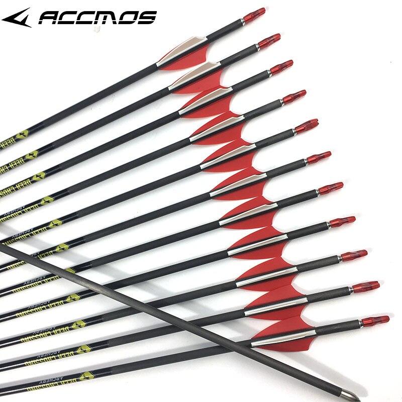 12pcs Pure Carbon Arrows spine 350 400 500 600 700 800 900 ID 4 2 mm