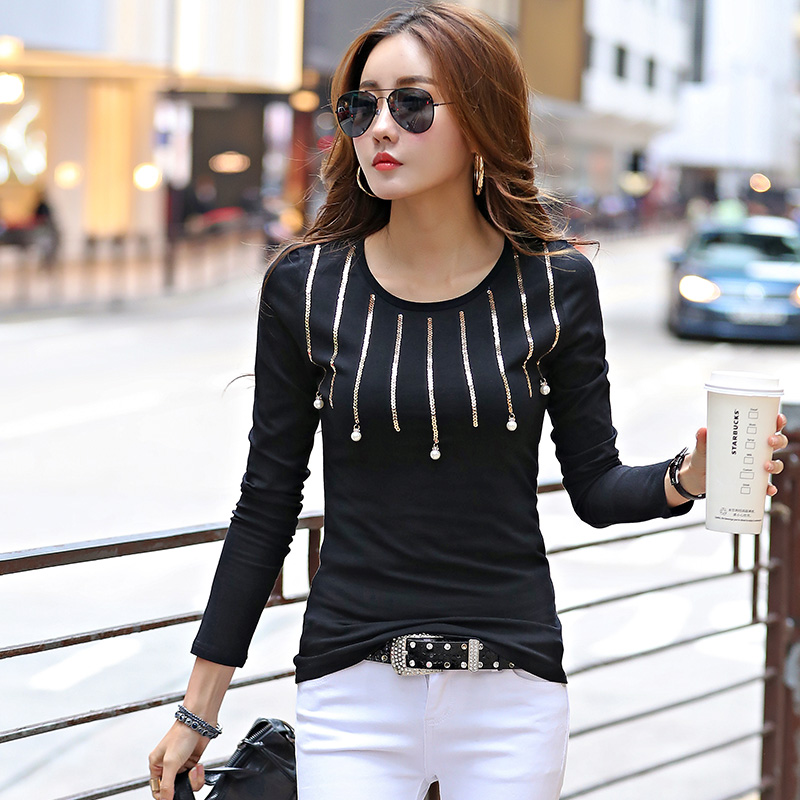 Fashion Beading Sequined T Shirts Women Long Sleeve