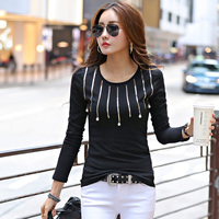 Fashion Beading Sequined T Shirts Women Long Sleeve Slim Basic Tees Tops Female All Match Casual T Shirts camisetas mujer 1588