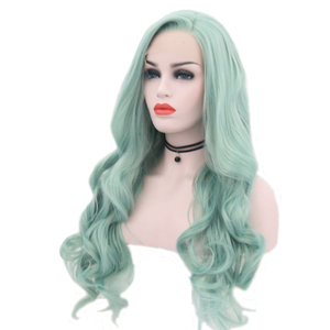 Image 2 - JOY&BEAUTY Mint Green Body Wave Synthetic Lace Front Wigs Glueless Heat Resistant Fiber Hair Natural Hairline Side Part For Wome