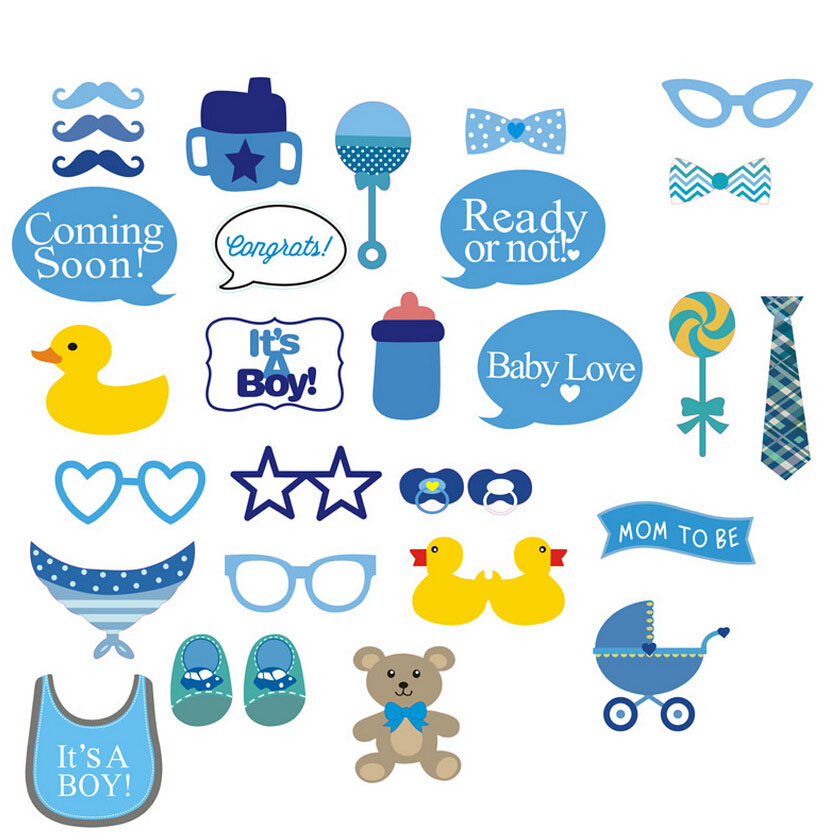 hot 30pc party gift photo booth props diy bottle baby shower boy girl birthday enclosed stick frame wedding decoration photocall