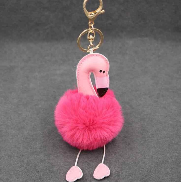 2018 bonito pompom chaveiro flamingo macio falso coelho bola de pele saco do carro feminino pompom chaveiro pom pom titular natal