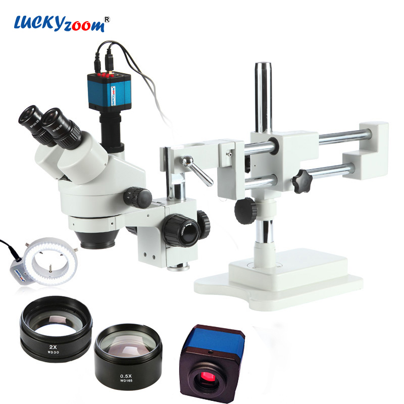 Free Shipping! 3.5X-90X! Double Boon Stand Stereo Zoom trinocular Microscope+14MP camera +144pcs Led Microscope etau panavise