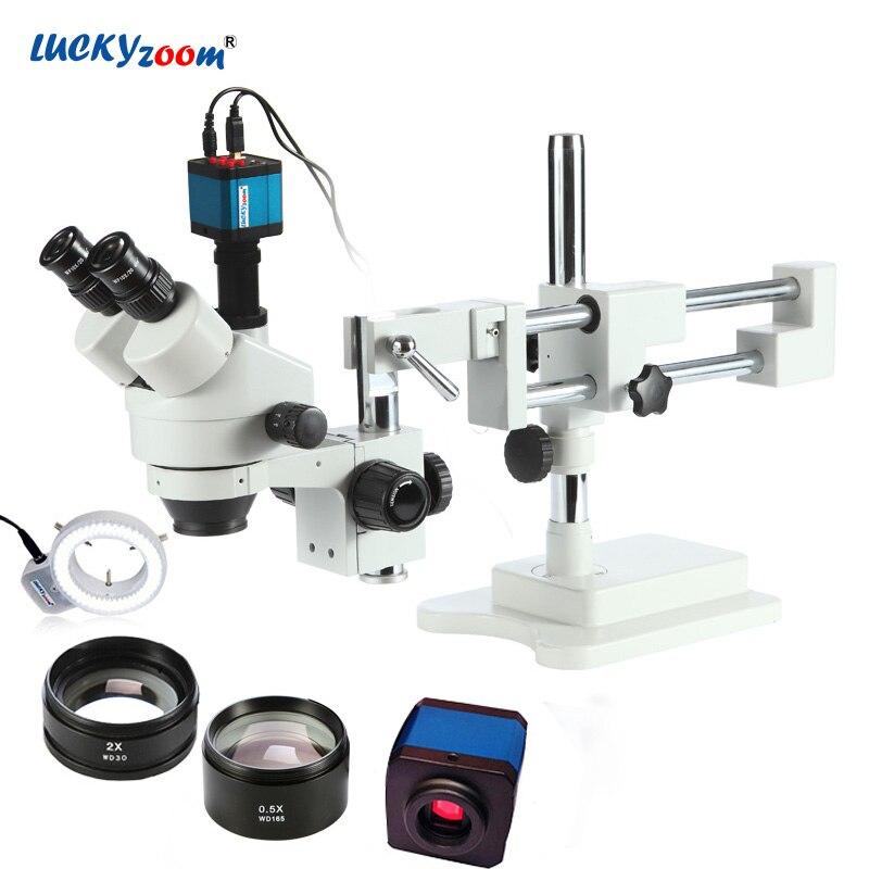 Fortunato Zoom Marca 3.5X-90X! doppia Boom Stand Zoom Stereo Microscopio trinoculare Microscopio MP Fotocamera + 144 pz Led Accessori