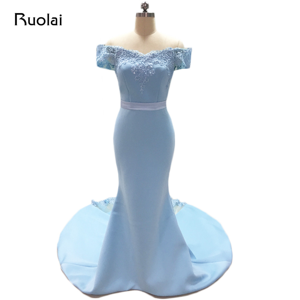Real Photo Blue   Bridesmaid     Dresses   Long Off the Shoulder Mermaid Maid of Honor   Dress   Wedding Guest Fashion Party   Dress   BM30