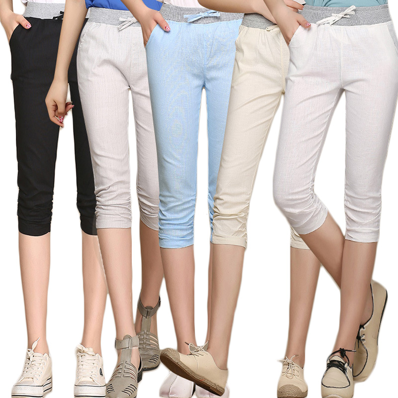 Big Size 2018 Linen Comfortable   Pants   Summer Women Calf Length Cotton   Pants   Colorful Casual Elastic Waist   Pants     Capris   Trousers