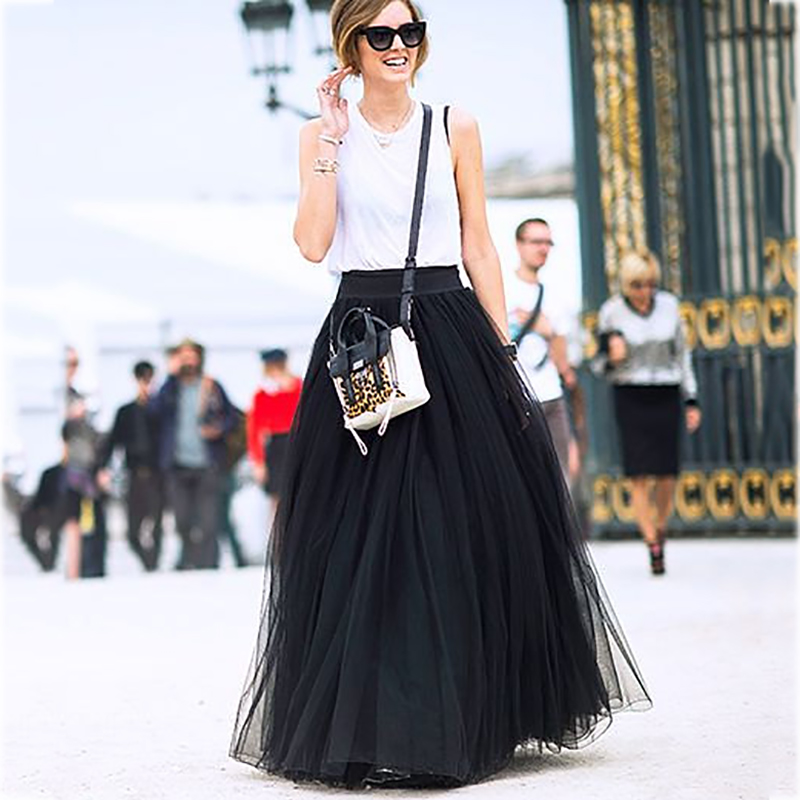 4 Layers 100cm Maxi Long Tulle Skirt Elegant Princess Fairy Style Tutu Skirts Womens Vintage Bouffant Puffy Fashion Skirt
