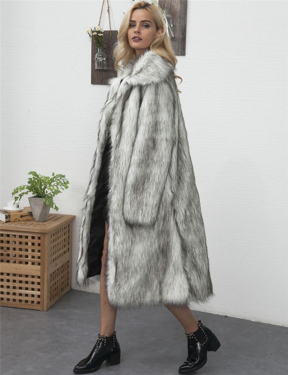 Veste Fourrure Blanc Mode Grande À Long Femmes Manteau ardoisé kaki Hiver Lâche 2019 Blanc Taille Chaud Faux Vêtements Épais Décontracté Longues gris Manches De Coupe wFOUnpp
