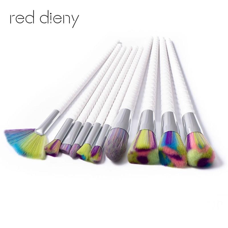 10Pcs Colorful Makeup Brush Set Professional Makeup Brush Foundation Powder Brush Kit