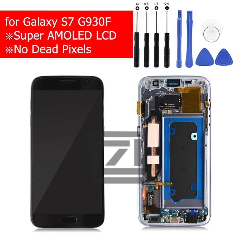100% Nouveau pour Samsung Galaxy S7 G930F Numériseur D'écran Tactile D'affichage à CRISTAUX LIQUIDES avec Assemblage De Cadre pour Galaxy S7 G930F Réparation pièces