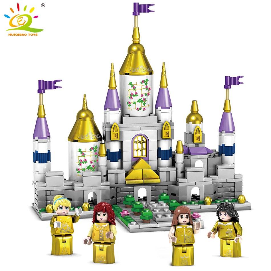 купить 363pcs Gold Princess Castle house Figures Building Blocks Compatible Legoed Friends For Girls Enlighten DIY Bricks children Toys недорого