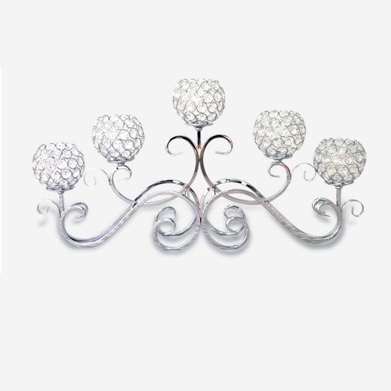 Metal Silver Plated Candle Holders 5 Arms With Crystals 70CMx33CM Stand Pillar Candlestick For Wedding Portavelas Candelabra-in Candle Holders from Home ...  sc 1 st  AliExpress.com & Metal Silver Plated Candle Holders 5 Arms With Crystals 70CMx33CM ...
