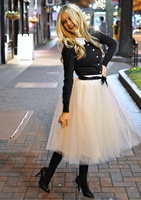 Only For Wholesale Custom Made 6 Layers Mesh Tutu Skirt Fluffy Midi Prom Tulle Skirts Long Puff Wedding Women Bridesmaid