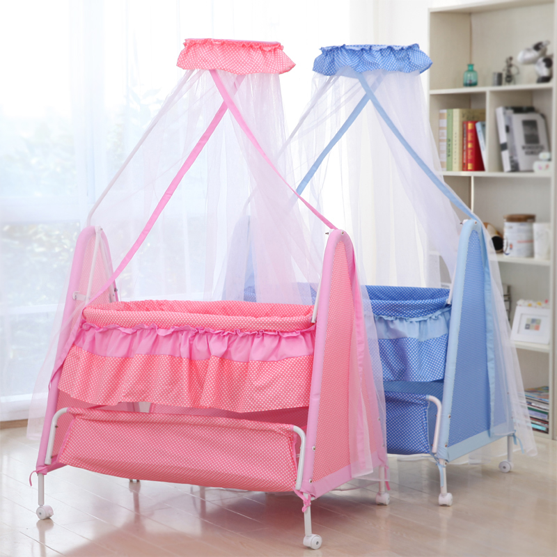 Rocking Bed Cradle Crib  Baby Bed Multifunction Baby Swing Bed Lullaby Bb Rocking Wheel Roller bed