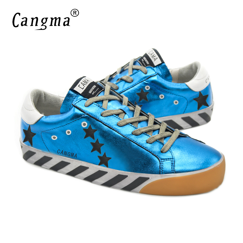 ФОТО CANGMA Original Women Brand Do Old Shoes Genuine Leather Superstars Female Casual Blue Breathable Shoes Sapatos Femininos 2017