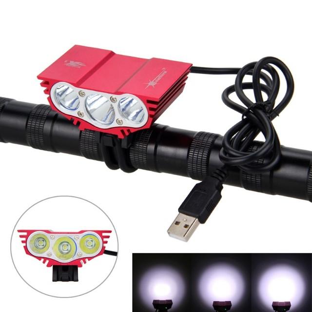 Waterproof  3XT6 LED Bicycle Light 10000LM Front Bike Head Light Night Cycling Lamp 5V USB Headlamp Only Lamp No Battery