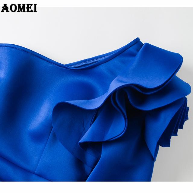 Women Blouse Tops Shirts One Shoulder Sexy Peplum Ruffles Blue Slim Party Wear 2019 Spring Fashion Elegant Ladies Female Clothes